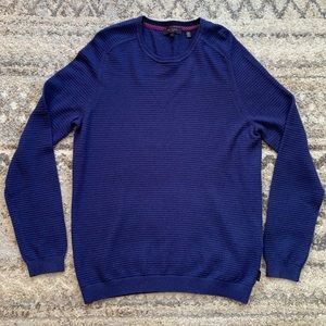 Ted Baker Ribbed Crewneck Blue Sweater XL